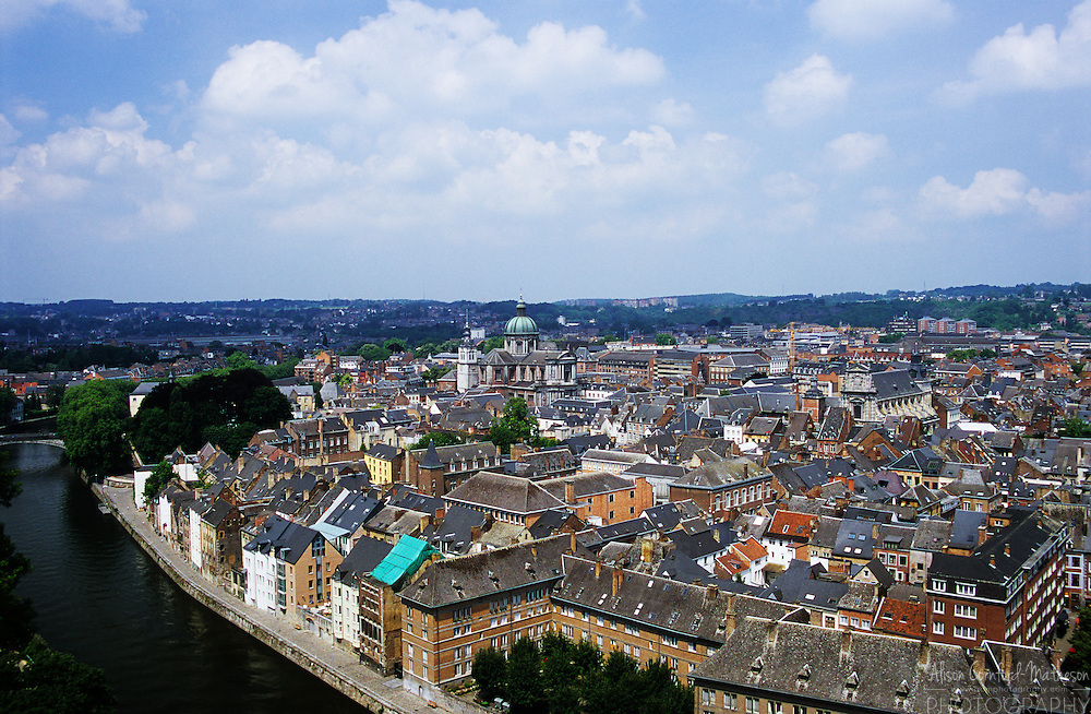 A view of the Wallonian city of Namur Belgium and the river Meuse, from the city's famous citadel.