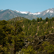 The San Francisco Peaks, beyond the hills of Sunset Crater - Sunset Crater National Monument, AZ