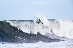 Lucas Silveira of Brazil advances to round three after placing first in round two heat 4 of the 2018 Hawaiian Pro at Haleiwa, Oahu, Hawaii, USA.