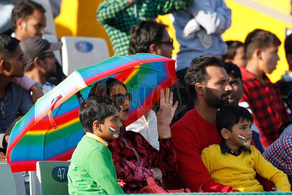 Fans during day 2 of the third test match between India and England held at the Punjab Cricket Association IS Bindra Stadium, Mohali on the 27th November 2016.<br /> <br /> Photo by: Deepak Malik/ BCCI/ SPORTZPICS