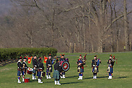 West Point, New York - The Leatherneck Pipes and Drums warm up before performing at the 32nd annual West Point Military Tattoo at Trophy Point at the United States Military Academy on April 13, 2014.