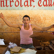 Marketplace in Havana, Cuba with vendors who are part of this new generation of private entreprneurs. Selling organic fruits, vegetables and meats that are transported into Havana.<br />