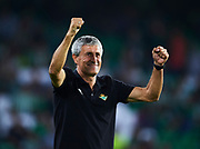 SEVILLE, SPAIN - OCTOBER 15:  Head Coach of Real Betis Balompie Quique Setien looks on prior to the La Liga match between Real Betis and Valencia at Estadio Benito Villamarin on October 15 in Seville.  (Photo by Aitor Alcalde Colomer/Getty Images)