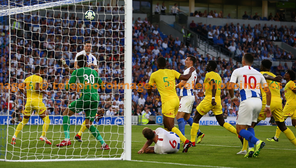 Pascal Gross heads in but its disallowed during the pre season friendly between Brighton and Hove Albion and FC Nantes at the American Express Community Stadium in Brighton. 03 Aug 2018