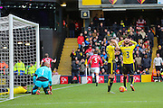 Watford players in disbelief after Troy Deeney of Watford own goal during the Barclays Premier League match between Watford and Manchester United at Vicarage Road, Watford, England on 21 November 2015. Photo by Phil Duncan.