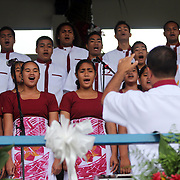 The Tafuna High School Warriors Swing Choir performs a hymn at the 2013 American Samoa Flag Day Ceremonies, Veterans Stadium, Tafuna, Tutuila, American Samoa.  Photo by Barry Markowitz, 4/17/13, Courtesy Samoa Tuna Processors/Tri Marine Group