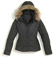 marc by marc jacobs new york jacket in black nylon with fur lined hood