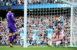 Raheem Sterling of Manchester City celebrates after scoring his sides second goal - Mandatory by-line: Matt McNulty/JMP - 14/10/2017 - FOOTBALL - Etihad Stadium - Manchester, England - Manchester City v Stoke City - Premier League