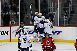 Nov 9, 2008; Newark, NJ, USA; The Edmonton Oilers celebrate a goal by Edmonton Oilers defenseman Sheldon Souray (44) during the second period at the Prudential Center.