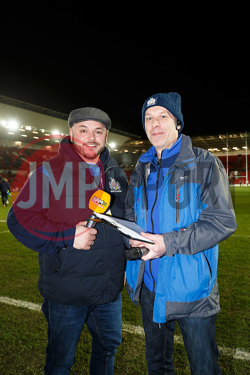Sam FM presenter Ian Downs and stadium announcer Richard 'Slick' Pitt - Mandatory byline: Rogan Thomson/JMP - 22/01/2016 - RUGBY UNION - Ashton Gate Stadium - Bristol, England - Bristol Rugby v Ulster A - British & Irish Cup.