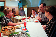 Journalists lunch at the Novaya Gazeta newspaper canteen in Moscow. Novaya Gazeta is one of the few remaining independent media outlets in Russia that dare to challenge the Kremlin, but it has paid a heavy price for its courage. Anna Politkovskaya, the newspaper's most prominent journalist, was gunned down in her apartment block in Moscow in 2006.   ..Picture by Justin Jin.