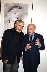 Left to right, film director DENNIS HOPPER and JACK CARDIFF at an exhibition of photographs by Jack Cardiff held at The Royal College of Art, Kensington Gore, London on 10th November 2004.<br />
