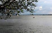 Calm lake reservoir water Polonnaruwa, North Central Province, Sri Lanka, Asia