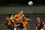 Picture by David Horn/Focus Images Ltd +44 7545 970036.30/08/2012.Clive Platt of Northampton Town (left) scores during the Capital One Cup match at Sixfields Stadium, Northampton.