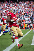 San Francisco 49ers running back Carlos Hyde (28) carries the ball for a touchdown against the Dallas Cowboys at Levis Stadium in Santa Clara, Calif., on October 2, 2016. (Stan Olszewski/Special to S.F. Examiner)