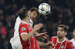 11.04.2018, Allianz Arena, Muenchen, GER, UEFA CL, FC Bayern Muenchen vs Sevilla FC, Viertelfinale, R&uuml;ckspiel, im Bild Franco Vasquez kl&auml;rt vor James Rodriguez und Javi Martinez // during the UEFA Champions League Quarterfinal, 2nd leg Match between FC Bayern Muenchen vs Sevilla FC at the Allianz Arena in Muenchen, Germany on 2018/04/11. EXPA Pictures &copy; 2018, PhotoCredit: EXPA/ SM<br /> <br /> *****ATTENTION - OUT of GER*****