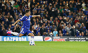 Eden Hazard steps up to take a penalty early on in the first half during the Champions League match between Chelsea and Maccabi Tel Aviv at Stamford Bridge, London, England on 16 September 2015. Photo by Andy Walter.
