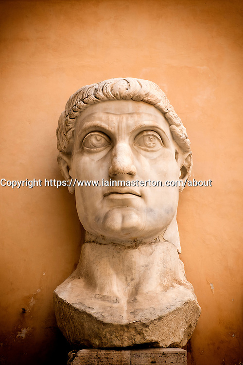 bust of the  Colossal Statue of Emperor Constantine at the   Capitolini Museums, Palazzo dei Conservatori,,Rome, Italy