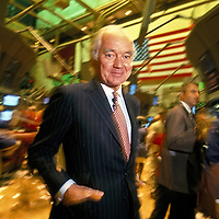 Sir John Bond, Chairman of Vodaphone, formerly Chair of HSBC Holdings, at the NY Stock Exchange.