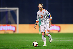 Sergio Ramos of Spain during the UEFA Nations League football match between Croatia and Spain, on November 15, 2018, at the Maksimir Stadium in Zagreb, Croatia. Photo by Morgan Kristan / Sportida