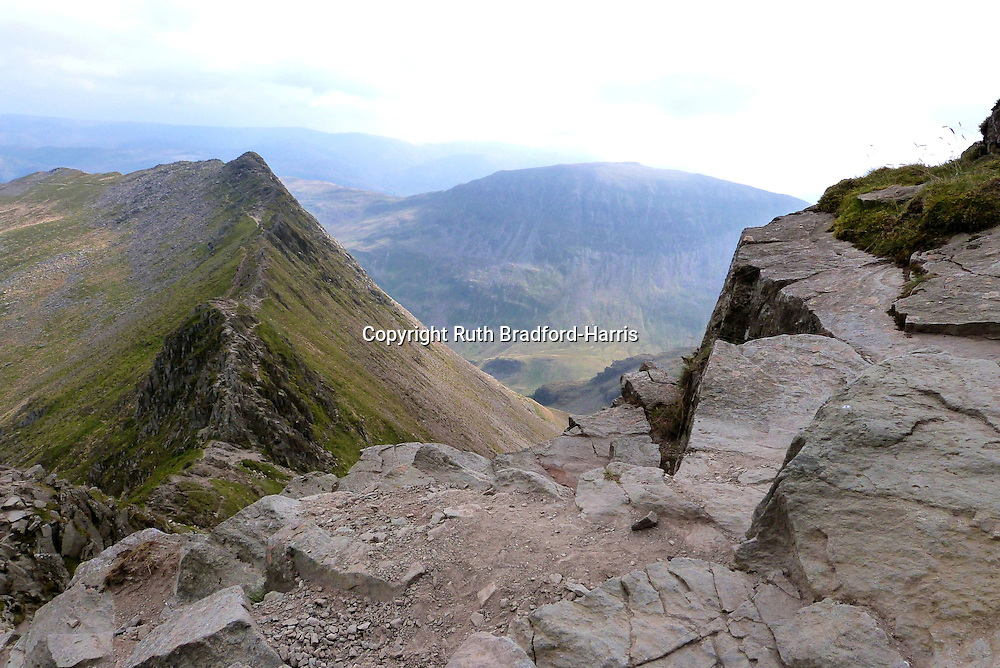Descending the steep summit cliffs of Helvellyn onto the famous Striding Edge arete. St.Sunday Crag is seen in the distance across Grisedale.<br /> <br /> Date taken: 22 September 2014.