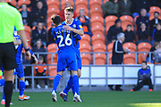 GOAL Ryan Delaney celebrates scoring 1-1 during the EFL Sky Bet League 1 match between Blackpool and Rochdale at Bloomfield Road, Blackpool, England on 6 October 2018.