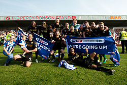 Free to use courtesy of Sky Bet - Wigan Athletic celebrate winning promotion to the Sky Bet Championship- Mandatory by-line: Robbie Stephenson/JMP - 21/04/2018 - FOOTBALL - Highbury Stadium - Fleetwood, England - Fleetwood Town v Wigan Athletic - Sky Bet League One