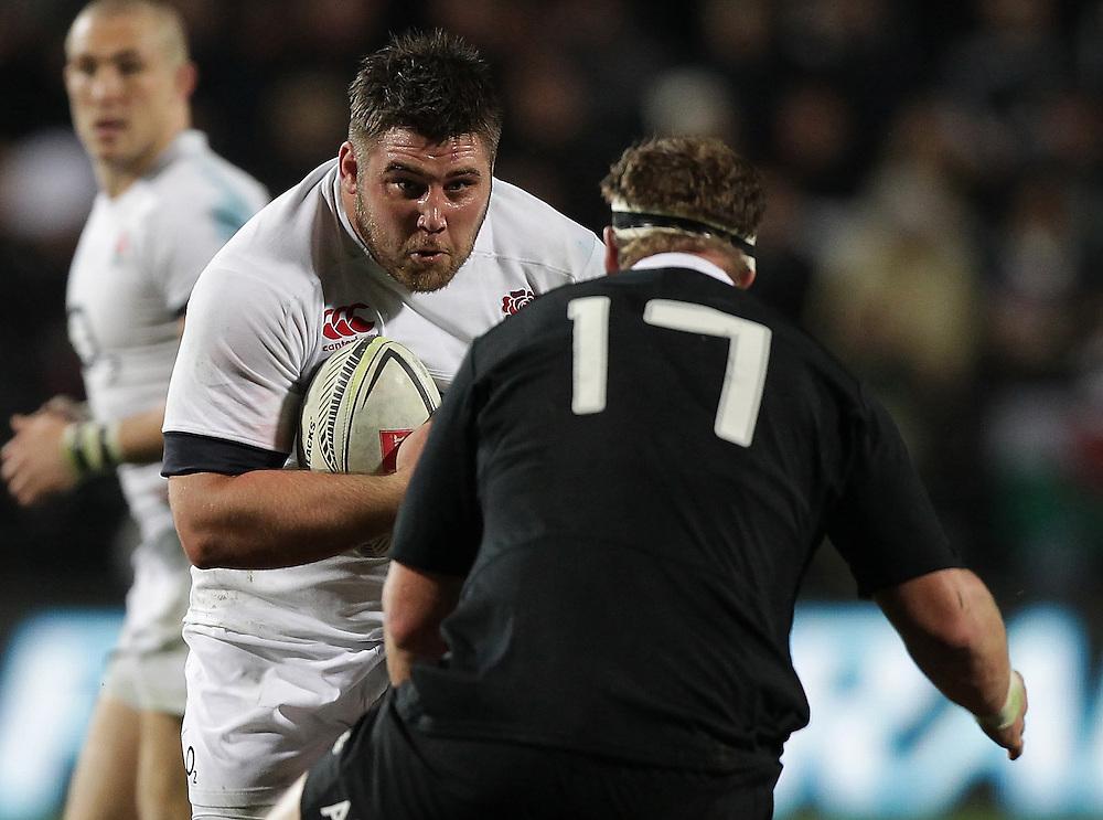 England's Kieran Brookes is challenged by New Zealand's Wyatt Crockett in an International Rugby Test match, Waikato Stadium, Hamilton, New Zealand, Saturday, June 21, 2014.  Credit:SNPA / David Rowland