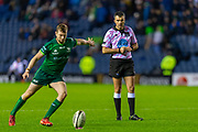 Referee Marius Mitrea watches a kick during the Guinness Pro 14 2019_20 match between Edinburgh Rugby and Connacht Rugby at BT Murrayfield Stadium, Edinburgh, Scotland on 21 February 2020.