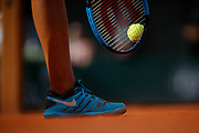 Illustration of Nike shoes, Wilson racket and tennis ball of Madison KEYS (USA) at service during the Roland Garros French Tennis Open 2018, day 12, on June 7, 2018, at the Roland Garros Stadium in Paris, France - Photo Stephane Allaman / ProSportsImages / DPPI