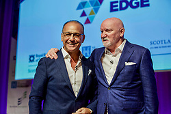 Theo Paphitis, left, with Sir Tom Hunter following their 'in conversation' during the Scottish Edge pitching finals at RBS Gogarburn, Edinburgh. Pic by Terry Murden @edinburghelitemedia