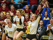 Mitchell's Maggie Kattner (17), Mitchell's Cassie Hohrman (13),Regan Waddell (7) and the rest of the Kernel bench celebrate a Kernel point during a match against Sioux Falls Roosevelt on Thursday at Mitchell High School. (Matt Gade / Republic)