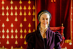 A lady in traditional period costume in the Queen's Inner Hall, Stirling Castle, Scotland<br /> <br /> (c) Andrew Wilson | Edinburgh Elite media