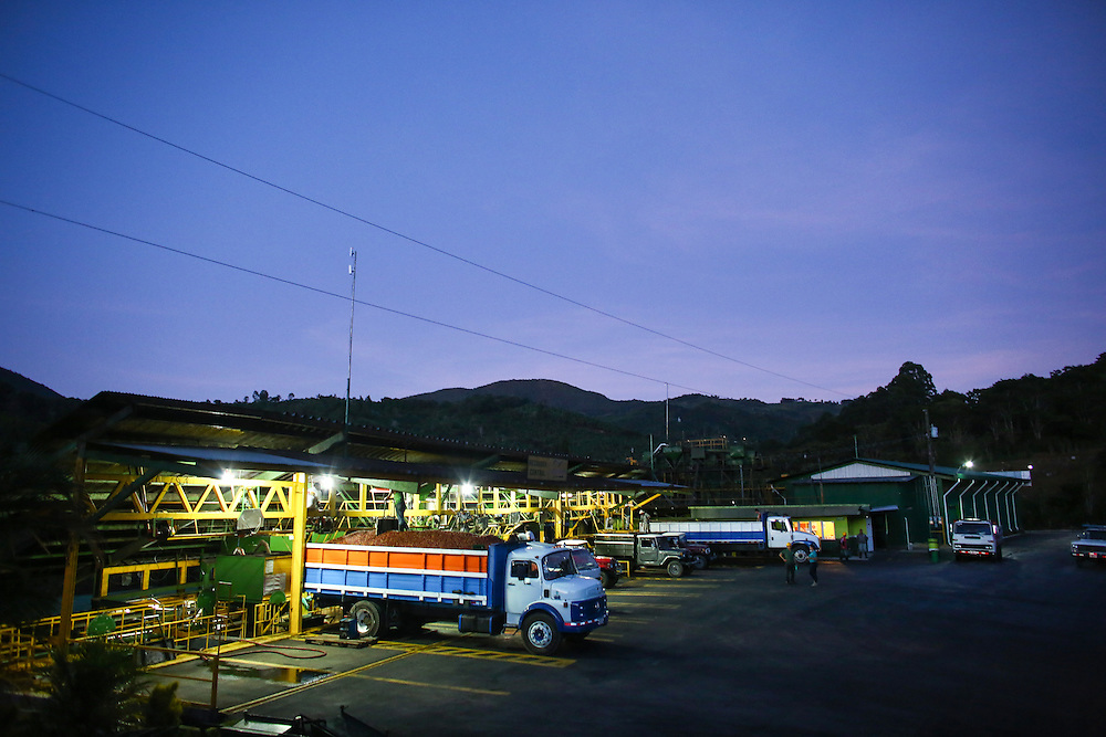 Coffee is delivered to the Terrazu coop collection and processing facility during the 2016 Starbucks Origin Experience for Partners. Photographed in January 2016. (Joshua Trujillo, Starbucks)