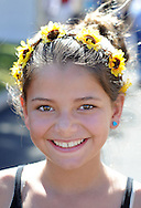 NEW HOPE, PA - SEPTEMBER 27:  Jessica Schaefer of Point Pleasant, New Jersey wears a flower head band made by her mother, who was selling them at the New Hope Arts Festival at New Hope-Solebury High School September 27, 2014 in New Hope, Pennsylvania. (Photo by William Thomas Cain/Cain Images)