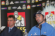Bulls captain Victor Matfield looks on during the press conference following the round 9 Super 14 rugby union match between the Chiefs and the Bulls at Waikato Stadium, Hamilton on Saturday 8 April 2006.The game ended in a 26-26 draw.  Photo: Brett O'Callaghan/PHOTOSPORT<br /> <br /> 080406