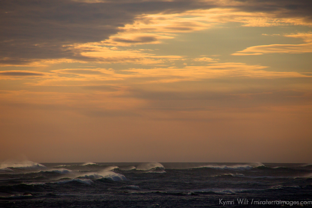 Central America, Costa Rica, Guanacaste.Sunset over wind and waves of Pacific Ocean.