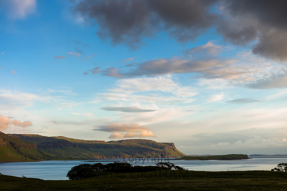 Panoramic view across Loch Na Keal on Isle of Mull, the Inner Hebrides and Western Isles in West Coast of Scotland