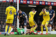 AFC Wimbledon striker Joe Pigott (39) with hands on head after Southend United goalkeeper Mark Oxley (1) saves from AFC Wimbledon midfielder Anthony Wordsworth (40) free kick during the EFL Sky Bet League 1 match between Southend United and AFC Wimbledon at Roots Hall, Southend, England on 16 March 2019.