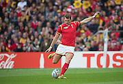 Twickenham, Great Britain,  Dan BIGGAR, addresses the ball as he kicks a penalty, during the Pool A game, Australia vs Wales.  2015 Rugby World Cup,  Venue, Twickenham Stadium, Surrey, ENGLAND.  Saturday  10/10/2015.   [Mandatory Credit; Peter Spurrier/Intersport-images]