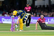 James Fuller of Hampshire just makes it to the crease to avoid being run out during the Royal London 1 Day Cup Final match between Somerset County Cricket Club and Hampshire County Cricket Club at Lord's Cricket Ground, St John's Wood, United Kingdom on 25 May 2019.