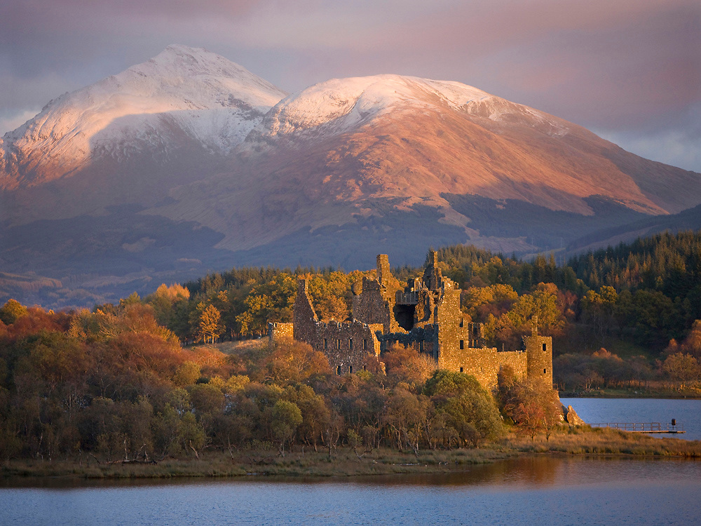 Autumn view towards Kilchurn castle and Ben Lui, Loch Awe, Argyll