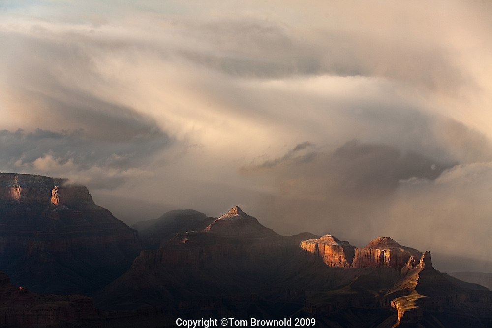 Winter storm passing through grand canyon over the North rim, cape final, venus and apollo temples.