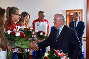 Warsaw, Poland - 2017 October 03: (L) Monika Ciaciuch (RTW LOTTO Bydgostia) Polish rower W4- during press conference of Polish Rowing National Team at Chopin Airport on October 03, 2017 in Warsaw, Poland.<br /> <br /> Mandatory credit:<br /> Photo by &copy; Adam Nurkiewicz / Mediasport<br /> <br /> Adam Nurkiewicz declares that he has no rights to the image of people at the photographs of his authorship.<br /> <br /> Picture also available in RAW (NEF) or TIFF format on special request.<br /> <br /> Any editorial, commercial or promotional use requires written permission from the author of image.