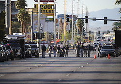 LAS VEGAS, Oct. 4, 2017  Investigators gather by the shooting scene in Las Vegas, the United States, Oct. 3, 2017. At least 59 people were killed and 527 others wounded after a gunman opened fire Sunday on a concert in Las Vegas in the U.S. state of Nevada, the deadliest mass shooting in modern U.S. history.  zjy) (Credit Image: © Wang Ying/Xinhua via ZUMA Wire)