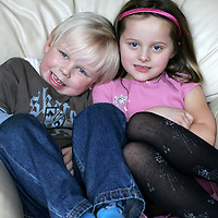 Millenium twins Jay (left) and Jordan Doherty from Letham near Forfar who are about to celebrate their fifth birthday.<br /><br />Picture by Graeme Hart.<br />Copyright Perthshire Picture Agency<br />Tel: 01738 623350  Mobile: 07990 594431
