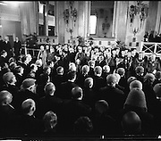 Inaugeration of Cearbhall O'Dalaigh as President  (H77).1974..19.12.1974..12.19.1974..19th December 1974..Following the sudden death of President Erskine Childers, Mr Cearbhall O'Dalaigh was nominated by The Fianna Fail party as its candidate to replace him. The Fine Gael /Labour coalition government did not oppose the nomination and Mr O'Dalaigh was elected un-opposed on a joint party agreement...Members of the Judiciary, Religious Leaders and dignitaries from around the globe are pictured at the inaugeration of Cearbhall O'Dalaigh as Irish President.