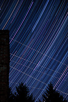 Star trails looking east from my backyard. Autumn night sky in New Jersey. Composite of 251 images taken with a Nikon D3x camera and 58 mm f/1.4 lens (ISO 100, 58 mm, f/2, 30 sec).