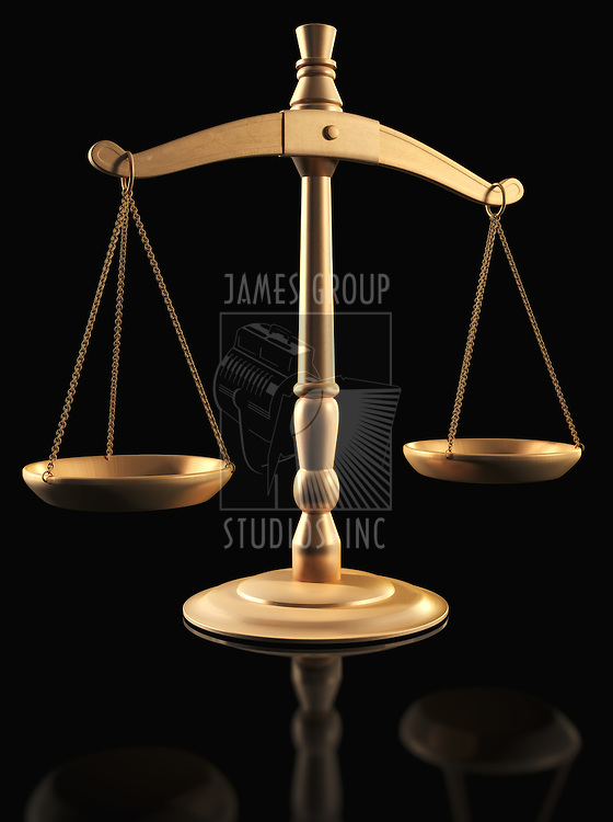 Brass Scales of Justice over black