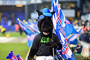 """Ipswich mascot wearing """"Kick it out"""" t-shirt during the EFL Sky Bet Championship match between Ipswich Town and Leeds United at Portman Road, Ipswich, England on 13 January 2018. Photo by Dennis Goodwin."""